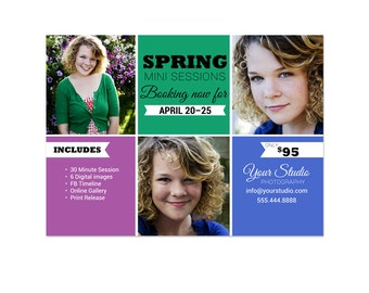 Spring Mini Sessions Template - 5x7 Marketing Board 005 for Photoshop and Photoshop Elements