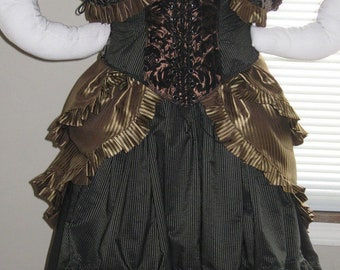 DDNJ Choose Fabrics Steampunk Victorian 5 pc Reversible Corset Bolero Bustle Skirts Chemise Plus Custom Made Any Size Renaissance Costume