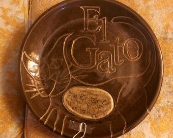 "Whimsical Studio Pottery Ceramic Plate ""El Gato"" 15"""