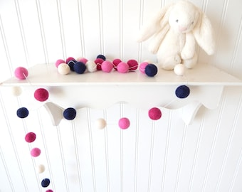 Girl Nursery Decor, Nautical Nursery, Pink and Navy Garland, Preppy Nursery Decor, Pom Pom Bunting, Felt Ball Garland, Girl's Room Pink Navy