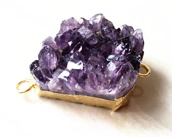 Raw Amethyst Druzy Pendant Connector Double Bails with Gold Electroplated, Gold Amethyst Quartz Druzy, Irregular stone jewelry B853-16