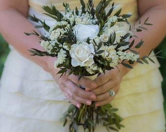 White Wedding Bouquet, Rose Bouquet, Woodland Wedding Bouquet
