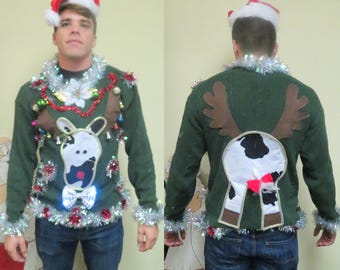 Custom Made to Order Homemade Funny 3-D Hysterical Cow Spotted Reindeer Tacky Ugly Christmas Sweater Wild Garland  light up Bowtie