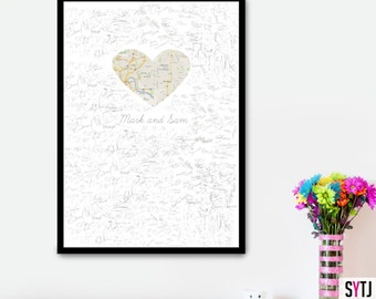Printable Map Wedding Guestbook Personalized Wedding Guestbook Alternative wedding Guestbook  Paper Map Guestbook Wedding Guestbook