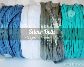 Silver Bells Raffia Ribbon Set - 40 yards - Blue White Silver Turquoise