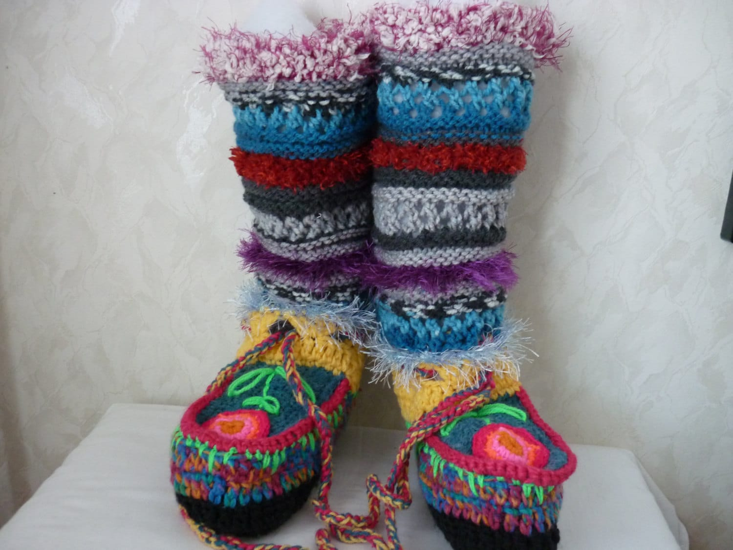 PATTERN Crochet boot slippers, Knitted Pattern boot, colorful ...