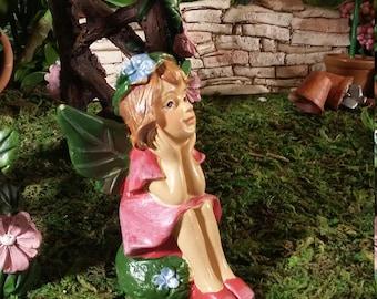 Fairy Garden Miniature Fairy with Pink Dress for your Fairy Garden, Garden Fairy, Garden Pixie, Fairy Garden Fairy, Terrarium Fairy