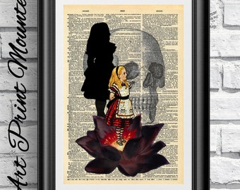 MOUNTED Gothic Alice in Wonderland Original Art print on antique dictionary book page. The black Lotus wall art Flower artwork.