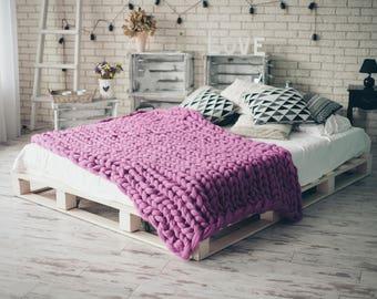 Bulky Merino Blanket - Super Chunky Blanket - Hand Knitting Blanket - Chunky Blanket - Bulky Blanket - Merino Blanket - Giant Blanket