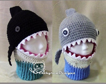 Shark/Whale Mask Ski Hat, 5 Sizes Child-Adult, INSTANT DOWNLOAD Crochet Pattern