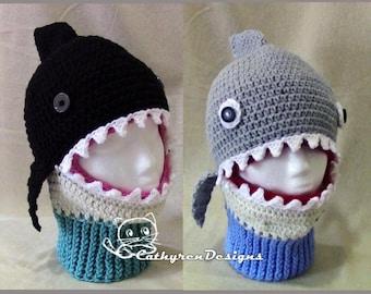 Shark/Whale Mask Ski Hat, 5 Sizes Child-Adult, INSTANT DOWNLOAD Crochet Pattern