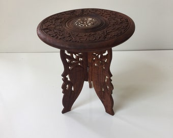 Carved Wood Plant Stand from India 1970s Bohemian Decor
