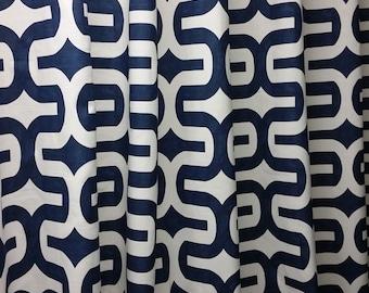 Pair of designer curtain panels, drapes, large geometric print Embrace, navy blue and white,