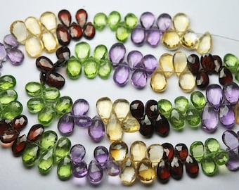 7 Inch Strand, Very Rare, Finest Natural Mixed Semi Precious Faceted Pear 8-10mm