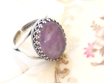 amethyst ring bohemian ring purple ring silver plated ring stone ring gemstone ring amethyst ring boho ring boho jewelry