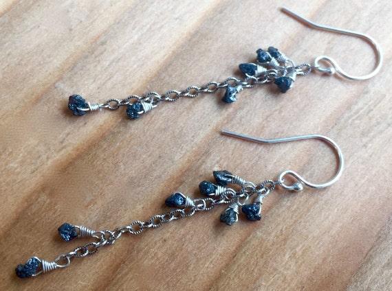 Raw Black Diamond Earrings - Diamond Earrings - Rough Black Diamond - Diamond Jewelry - April Birthstone Earrings - Diamond Dangles