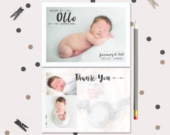 Baby Boy Announcement and Thank You Card · 4 photo · Boy or Girl · Modern Arrow Birth Announcement