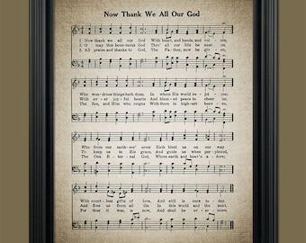 Now Thank We All Our God Hymn Print - Sheet Music Art - Hymn Art - Home Decor - Inspirational Art - Instant Download #HYMN-051