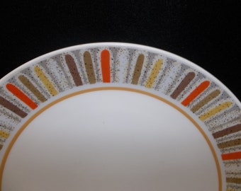 Noritake china Dinner Plate MARDIS GRAS Progression Cream, Orange, Yellow 9019 Retired 1969~1979