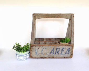 """Antique Wooden Tote, Antique Advertising Tote, Original Paint, Painted Wood Tool Box, Primitive Blue Tool Caddy, """"V.C. Area"""", Carpenter Tote"""