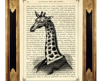 Steampunk Giraffe Gentleman Art Print Portrait Giraffe Picture - Vintage Victorian Book Page Art Print Steampunk Nursery Wall Decor