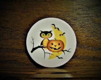 Owl and Pumpkin Magnet