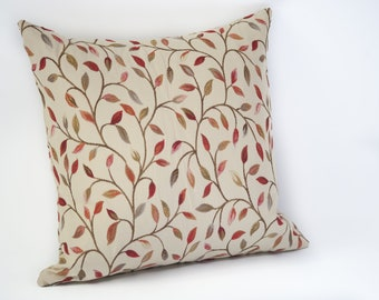 Decorative Pillow Cushion 18x18 Inner Leaf Brown Orange Red