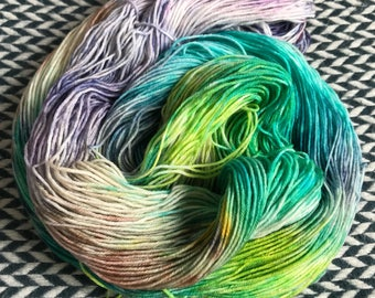 Hand-dyed yarn, Indie dyed yarn, hand dyed yarn MONET'S AFTERNOON --dyed to order-- Broadway sparkle sock weight merino/nylon yarn