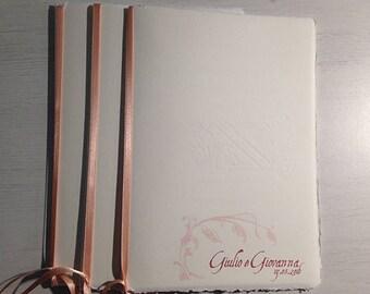 Libretto messa con copertina in carta Amalfi e nastrino