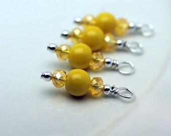 Yellow Glass Bead, Earring Dangle, Pendant, Charm, Drop Set, Yellow Dangles