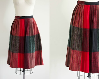 vintage 50s style plaid wool skirt . 1960s - 1970s red pleated midi full skirt . small