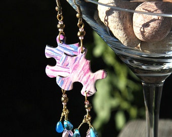 Statement Jewelry PUZZLE Earrings Paper Earrings Wire wrapped Crystal Drop and Teardrops in Pink Purple Blue Recycled Ocean Jigsaw Puzzle