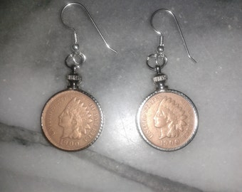 1900 Indian head penny earings