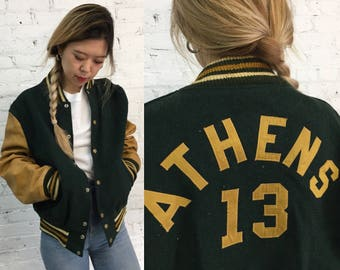 vintage letterman varsity jacket /  60s 70s forest green and mustard yellow wool and leather Athens letter jacket