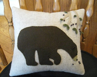 Primitive Bear Applique Pillow Hand Dyed Wool Hand Made