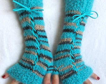 Fingerless Corset Gloves Arm Warmers in Turquoise  Brown Tones