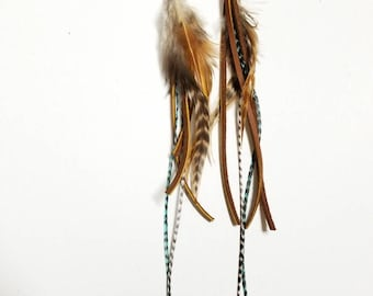 Feather/Leather/Turquoise Statement Earring