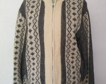 Vintage Men's Wool Blend Knit Sweater Cardigan Zip Front L/XL