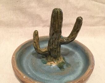Handmade ceramic cactus ring dish