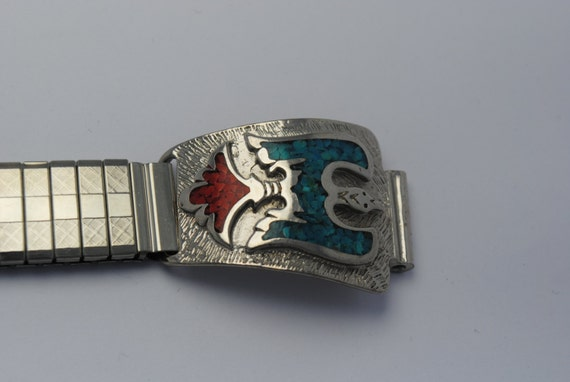 Turquoise and coral wristwatch expandable