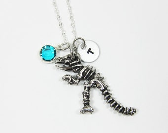 Dinosaur Fossil Necklace - Personalized dinosaur skeleton with handstamped initial and Birthstone crytal