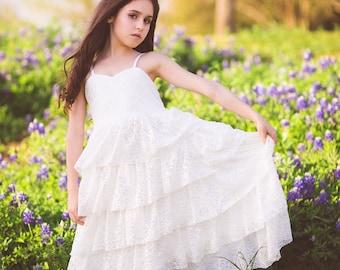 Country Lace Flower Girl White Dresses, Boho Ruffle Junior Bridesmaid Dress, Bohemian Dress for Girls Toddlers, Communion Dress, Savannah