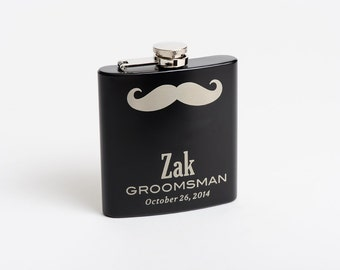 3, Mustache Flasks, Personalized Flasks, Engraved Groomsman Gift, Best Man Flasks, Customized Hip Flask, Gift for Men
