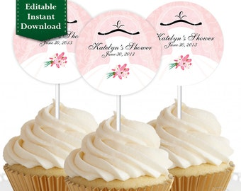 EDITABLE Instant Download - Bridal Shower / Wedding Shower Cupcake Topper, Custom Cupcake Toppers, Personalized Cupcake Topper