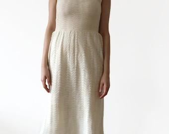 1970s Crochet Dress / 70s Crochet Dress / 60s Knit Dress / 1960s Knitted Cream Vintage Dress / White Boho Festival Dress / Bohemian Dress