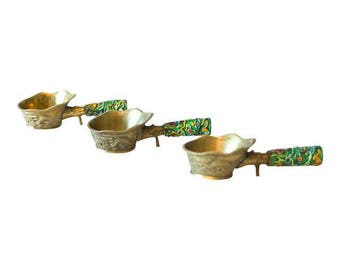 Vintage Chinese Brass and Enamel Ladles - Set of 3