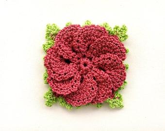 Crochet flower appliques in Pink and Green color Crochet decorations Scrapbooking Craft supplies Crochet flower motif