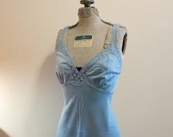 Slip dress 1950s vintage lace pinup lingerie Pantone color shaded spruce blue green 36 M