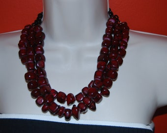 Red Statement Necklace Multi-Strand Ruby Red Oxblood Burgundy Beaded Necklace Chunky Bold