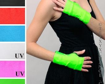 TRIXY XCHANGE - Neon Green Gloves Black Fingerless Gloves Hot Pink Gloves White Short Gloves Cyber Gloves PVC Gloves Vinyl Gloves Cosplay